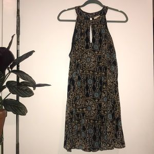 Halter neck black print dress